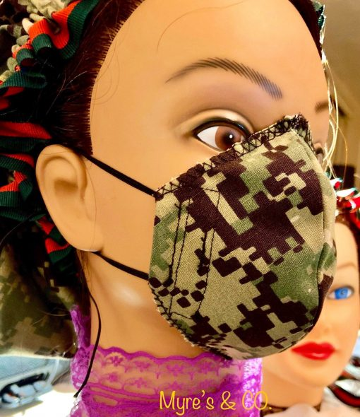 Reusable 3 layers camouflage face mask including filter, premium cotton fabric. Adjust as needed.